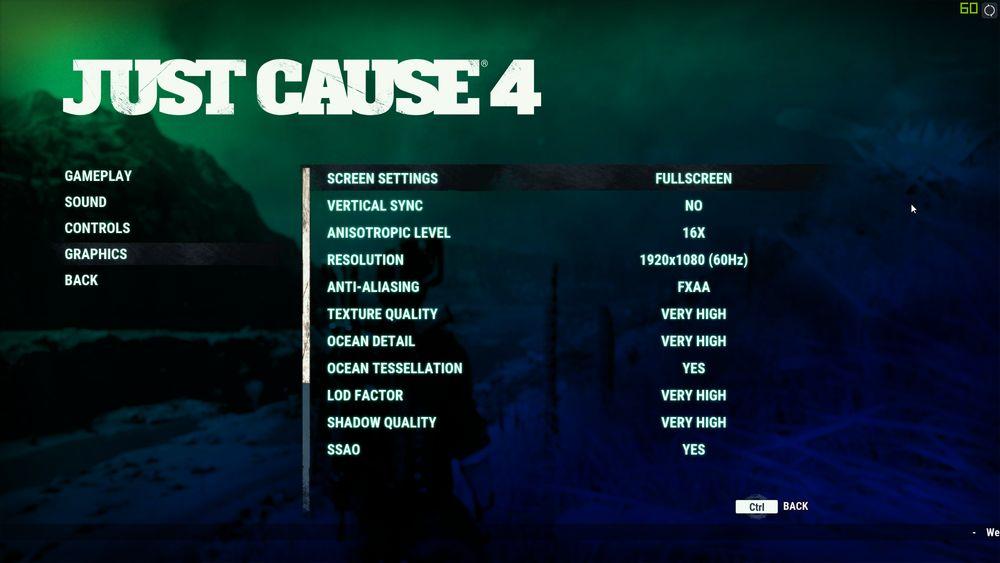 Just Cause 4 graphics menu
